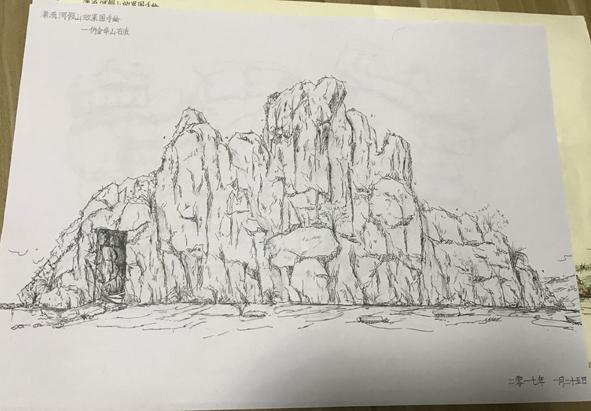 漂流河道塑石假山手绘效果图,塑石假山长100米,高约12米.